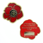 Red Remembrance Poppy - Gold