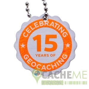 Official 15 Years of Geocaching Travel Tag